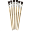 "ChenilleKraft 3/4"" Tempera Brush Set - 6 Brush(es) - 0.75"" Handle - Aluminum Ferrule - Wood Handle - Natural, Black"