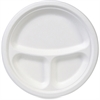 """Dixie EcoSmart 10 Inch 3 Compartment Plate - 10"""" Diameter Plate - Molded Fiber - Disposable - Microwave Safe - White - 50 Piece(s) / Pack"""