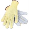 Junkyard Dog Split Leather Gloves - Leather, Kevlar - Gray, Yellow - Cut Resistant - For Multipurpose - 2 / Pair