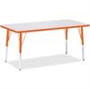 "Jonti-Craft Orange Edge Rectangle Table - Rectangle Top - 60"" Table Top Length x 30"" Table Top Width - Assembly Required - Gray, Laminated, Powder Coated - Steel"