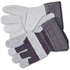 MCR Safety Leather Palm Economy Safety Gloves - Medium Size - Leather Palm, Rubber Cuff - Blue - For Assembling, Construction, Landscape - 12 / Pair