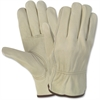 MCR Safety Durable Cowhide Leather Work Gloves - Medium Size - Cowhide Leather - Cream - Durable, Comfortable, Flexible - For Construction - 12 / Pair
