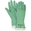 MCR Safety Nitri-Chem Flock Lined Nitrile Gloves - Styrene Butadiene Rubber (SBR), Nitrile - Green - Puncture Resistant, Non-slip Grip - For Material Handling - 1 / Pack