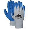 Memphis Bamboo Protective Gloves - Medium Size - Nylon, Foam Palm, Latex Palm - Gray, Blue, White - Knit Wrist, Knitted Cuff, Comfortable, Breathable - For Material Handling, Assembling, Farming, Cons