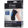 "Curad Microban Knee Support - Antimicrobial, Hook & Loop Closure - 21"" Adjustment - Strap Mount - Black"