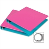 "Samsill Fashion Two-tone Round Ring Binders - 1"" Binder Capacity - Letter - 8 1/2"" x 11"" Sheet Size - Round Ring Fastener - 2 Internal Pocket(s) - Polypropylene - Turquoise, Berry - Recycled - 2 / Pac"