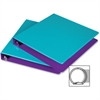"Samsill Fashion Two-tone Round Ring Binders - 1"" Binder Capacity - Letter - 8 1/2"" x 11"" Sheet Size - Round Ring Fastener - 2 Internal Pocket(s) - Polypropylene - Turquoise, Purple - Recycled - 2 / Pa"