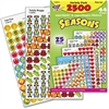 Trend Seasons superSpots & superShapes Stickers - Fall Fun, Turkey Time, Super Snow Friends, Winter Joys, Red Hearts, Spring Flowers, Totally Buggy, Treat Time, Patriotic Symbols - Acid-free, Non-toxi