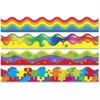 "Trend Color Blast Bolder Borders Variety Pack - Jigsaw, Rainbow Gel, Wavy Bubbles, Rainbow Promise - 1872"" Length - Assorted - 1 Set"