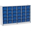 "Rainbow Accents Cubbie-Tray Mobile Storage - 30 Compartment(s) - 35.5"" Height x 57.5"" Width x 15"" Depth - Blue - Rubber - 1Each"