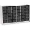 "Rainbow Accents Cubbie-Tray Mobile Storage - 30 Compartment(s) - 35.5"" Height x 57.5"" Width x 15"" Depth - Black - Rubber - 1Each"