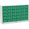 "Rainbow Accents Cubbie-Tray Mobile Storage - 30 Compartment(s) - 35.5"" Height x 57.5"" Width x 15"" Depth - Green - Rubber - 1Each"