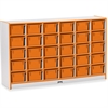 "Rainbow Accents Cubbie-Tray Mobile Storage - 30 Compartment(s) - 35.5"" Height x 57.5"" Width x 15"" Depth - Orange - Rubber - 1Each"