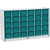 "Rainbow Accents Cubbie-Tray Mobile Storage - 30 Compartment(s) - 35.5"" Height x 57.5"" Width x 15"" Depth - Teal - Rubber - 1Each"