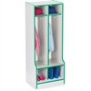 "Rainbow Accents Double Coat Hooks Step Locker - 2 Compartment(s) - 50.5"" Height x 20"" Width x 17.5"" Depth - Green - 1Each"