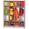 "Rainbow Accents 4 Section Coat Locker - 4 Compartment(s) - 50.5"" Height x 39"" Width x 15"" Depth - Red - 1Each"