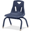 "Berries Stacking Chair - Steel Frame - Four-legged Base - Navy - Polypropylene - 15.5"" Width x 13.5"" Depth x 20"" Height"