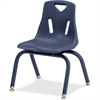 "Berries Stacking Chair - Steel Frame - Four-legged Base - Navy - Polypropylene - 15.5"" Width x 16.5"" Depth x 23.5"" Height"