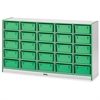 "Rainbow Accents Mobile Tub Storage - 25 Compartment(s) - 35.5"" Height x 60"" Width x 15"" Depth - Green - Hard Rubber - 1Each"