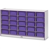 "Rainbow Accents Mobile Tub Storage - 25 Compartment(s) - 35.5"" Height x 60"" Width x 15"" Depth - Purple - Hard Rubber - 1Each"
