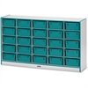 "Rainbow Accents Mobile Tub Storage - 25 Compartment(s) - 35.5"" Height x 60"" Width x 15"" Depth - Teal - Hard Rubber - 1Each"