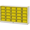 "Rainbow Accents Mobile Tub Storage - 25 Compartment(s) - 35.5"" Height x 60"" Width x 15"" Depth - Yellow - Hard Rubber - 1Each"