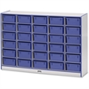 "Rainbow Accents Mobile Tub Storage - 30 Compartment(s) - 42"" Height x 60"" Width x 15"" Depth - Blue - Hard Rubber - 1Each"