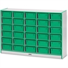"Rainbow Accents Mobile Tub Storage - 30 Compartment(s) - 42"" Height x 60"" Width x 15"" Depth - Green - Hard Rubber - 1Each"