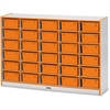 "Rainbow Accents Mobile Tub Storage - 30 Compartment(s) - 42"" Height x 60"" Width x 15"" Depth - Orange - Hard Rubber - 1Each"