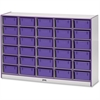 "Rainbow Accents Mobile Tub Storage - 30 Compartment(s) - 42"" Height x 60"" Width x 15"" Depth - Purple - Hard Rubber - 1Each"