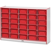 "Rainbow Accents Mobile Tub Storage - 30 Compartment(s) - 42"" Height x 60"" Width x 15"" Depth - Red - Hard Rubber - 1Each"