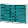"Rainbow Accents Mobile Tub Storage - 30 Compartment(s) - 42"" Height x 60"" Width x 15"" Depth - Teal - Hard Rubber - 1Each"