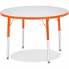 "Berries Adult Height Color Edge Round Table - Round Top - Four Leg Base - 4 Legs - 1.13"" Table Top Thickness x 36"" Table Top Diameter - 31"" Height - Assembly Required - Powder Coated - Steel"