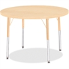"Berries Adult Height Maple Top/Edge Round Table - Round Top - Four Leg Base - 4 Legs - 1.13"" Table Top Thickness x 36"" Table Top Diameter - 31"" Height - Assembly Required - Powder Coated - Steel"