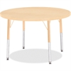 "Berries Elementary Height. Maple Top/Edge Round Table - Round Top - Four Leg Base - 4 Legs - 1.13"" Table Top Thickness x 36"" Table Top Diameter - 24"" Height - Assembly Required - Powder Coated - Steel"