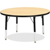 "Berries Toddler Height Color Top Round Table - Round Top - Four Leg Base - 4 Legs - 1.13"" Table Top Thickness x 36"" Table Top Diameter - 15"" Height - Assembly Required - Powder Coated - Steel"