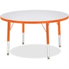"Berries Toddler Height Color Edge Round Table - Round Top - Four Leg Base - 4 Legs - 1.13"" Table Top Thickness x 36"" Table Top Diameter - 15"" Height - Assembly Required - Powder Coated - Steel"