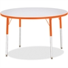 "Berries Adult Height Color Edge Round Table - Round Top - Four Leg Base - 4 Legs - 1.13"" Table Top Thickness x 42"" Table Top Diameter - 31"" Height - Assembly Required - Powder Coated - Steel"
