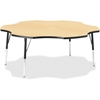 "Berries Adult Black Edge Six-leaf Table - Four Leg Base - 4 Legs - 1.13"" Table Top Thickness x 60"" Table Top Diameter - 31"" Height - Assembly Required - Powder Coated - Steel"