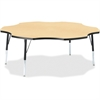 "Berries Elementary Black Edge Six-leaf Table - Four Leg Base - 4 Legs - 1.13"" Table Top Thickness x 60"" Table Top Diameter - 24"" Height - Assembly Required - Powder Coated - Steel"