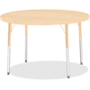 "Berries Adult Height Maple Top/Edge Round Table - Round Top - Four Leg Base - 4 Legs - 1.13"" Table Top Thickness x 42"" Table Top Diameter - 31"" Height - Assembly Required - Powder Coated - Steel"