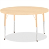 "Berries Elementary Height. Maple Top/Edge Round Table - Round Top - Four Leg Base - 4 Legs - 1.13"" Table Top Thickness x 42"" Table Top Diameter - 24"" Height - Assembly Required - Powder Coated - Steel"