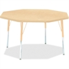 "Berries Adult Height Maple Top/Edge Octagon Table - Octagonal Top - Four Leg Base - 4 Legs - 1.13"" Table Top Thickness x 48"" Table Top Diameter - 31"" Height - Assembly Required - Powder Coated - Steel"