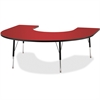 "Berries Adult Black Edge Horseshoe Table - Horseshoe-shaped Top - Four Leg Base - 4 Legs - 66"" Table Top Length x 60"" Table Top Width x 1.13"" Table Top Thickness - 31"" Height - Assembly Required - Pow"