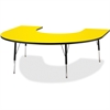 """Berries Adult Black Edge Horseshoe Table - Horseshoe-shaped Top - Four Leg Base - 4 Legs - 66"""" Table Top Length x 60"""" Table Top Width x 1.13"""" Table Top Thickness - 31"""" Height - Assembly Required - Pow"""