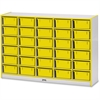 "Rainbow Accents Mobile Tub Bin Storage - 30 Compartment(s) - 42"" Height x 60"" Width x 15"" Depth - Floor - Yellow - Hard Rubber - 1Each"
