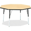 "Berries Adult Height Color Edge Octagon Table - Octagonal Top - Four Leg Base - 4 Legs - 1.13"" Table Top Thickness x 48"" Table Top Diameter - 31"" Height - Assembly Required - Powder Coated - Steel"