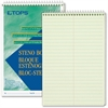 "TOPS Green Tint Steno Books - 70 Sheets - Printed - Coilock - 15 lb Basis Weight 6"" x 9"" - Green Tint Paper - Green, White, Blue Cover - 1Dozen"