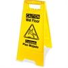 Genuine Joe Universal Graphic Wet Floor Sign - 1 Each - Wet Floor Print/Message - Foldable - Yellow