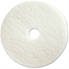 "Genuine Joe 19"" White Polishing Floor Pad - 19"" Diameter - 5/Carton - Fiber - White"
